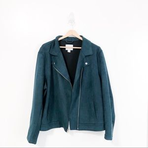 Old Navy Jade Green Suede Moto Jacket